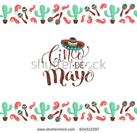 Cinco de Mayo poster in horizontal stripe composition. Mexican culture symbols collection. Sombrero, maracas, cactus and jalapeno isolated on white background.