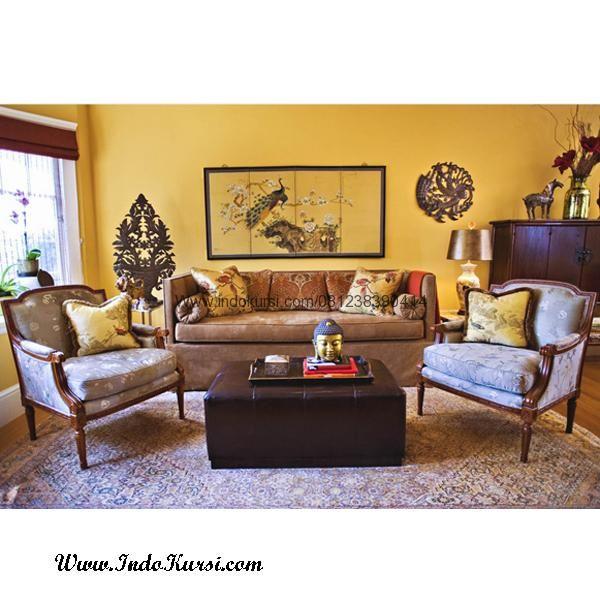 JualKursi Sofa Ruang Tamu Tanganan Lengkung merupakan produk Sofa Ruang Tamu Jok Busa Model Tangganan Lengkung dengan Bahan Kayu Jati Ukiran jepara