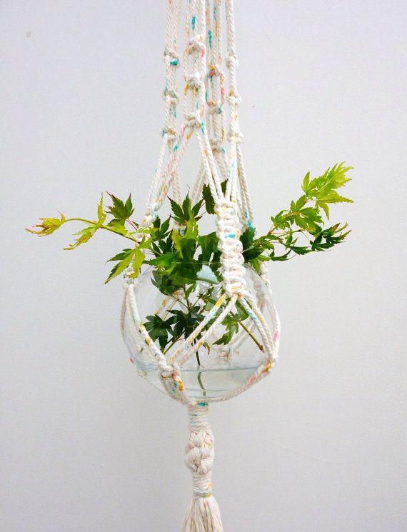 Modern macrame plant hanger / painted rope plant hanger / knotted pot hanger