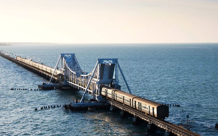 Pamban Bridge, India The town of Rameswaram, on Pamban Island, is connected to the Indian mainland by a one-and-a-half-mile bridge with 143 piers opened in 1914, which makes for a breathtaking home straight for travellers arriving here from the Indian city of Chennai. Rameswaram itself is a holy Hindu site, and a popular pilgrimage. Picture: AP/FOTOLIA