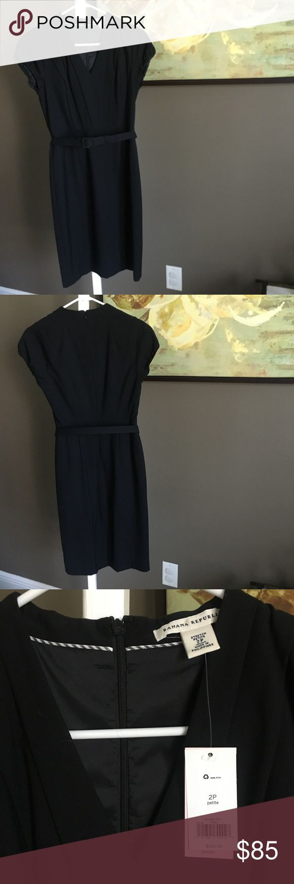 🆕 Banana Republic Sheath Dress - Size 2P Banana Republic black sheath dress with removable belt, size 2 petite. Pleated busy for slimming effect, zip closure, fully lined. Brand new, with tags. Banana Republic Dresses