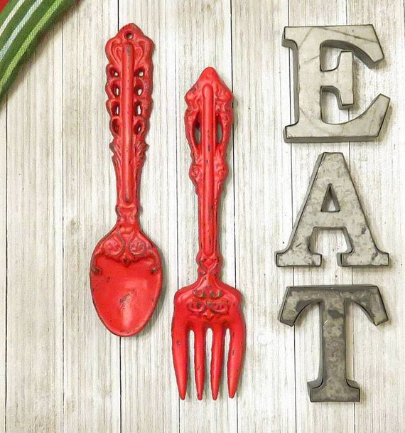 Rustic spoon and fork wall decor