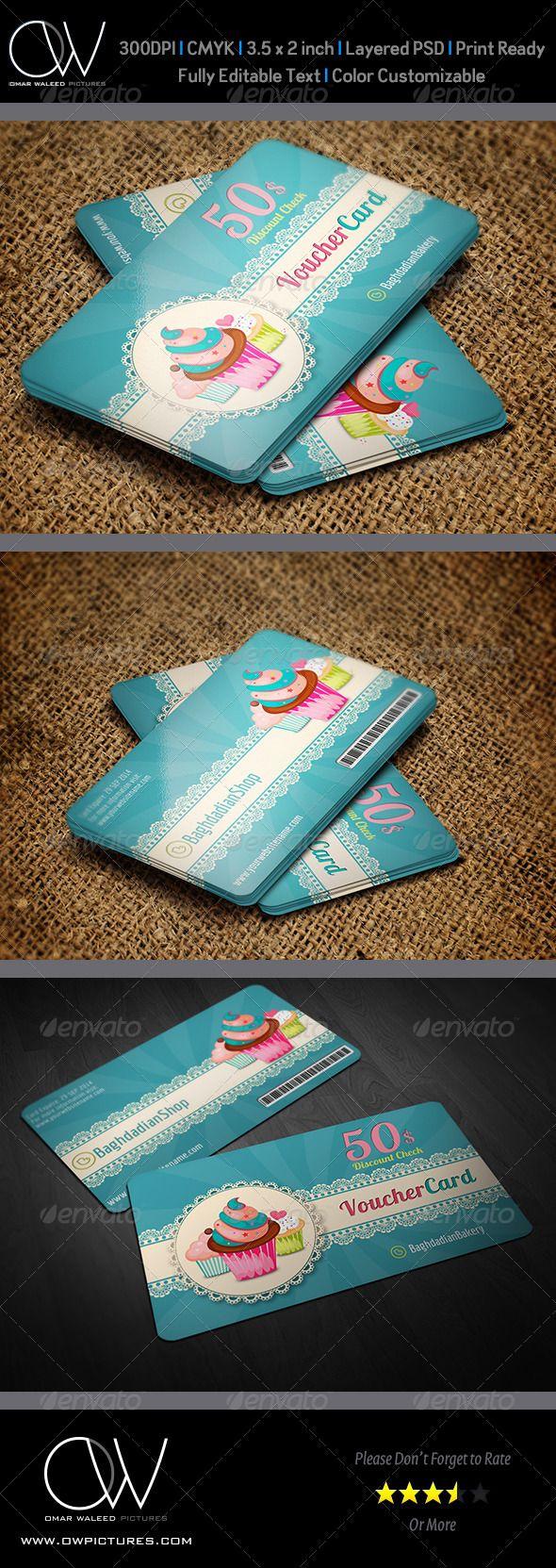 Cake Shop Voucher Gift Card Template