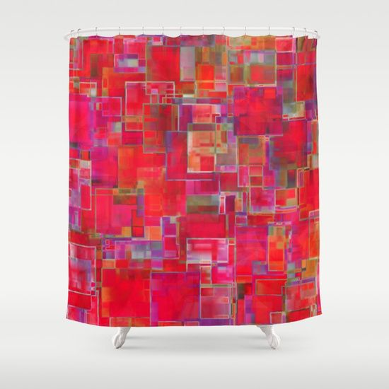 Abstract red pattern with lots of squares and other hues - by Silvia Ganora  #showercurtain #vibrant #abstract #red #modern #contemporary #society6 #homedecor