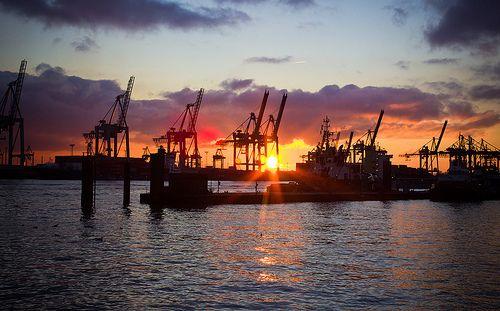 Abendsonne an der Elbe, Hamburg
