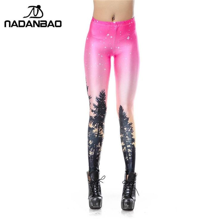 NADANBAO Casual leggins 3D Pink Galaxy Aurora Sky Digital Legins Printed Women Leggings Women Pants