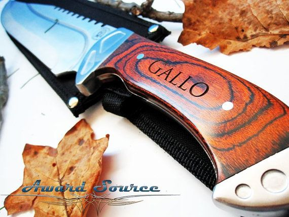 Mens Valentine's Day Gift - Hunter's Valetine's Day Gift - Personalized Bowie Knife - Personalized Wood Handle Hunting Knives