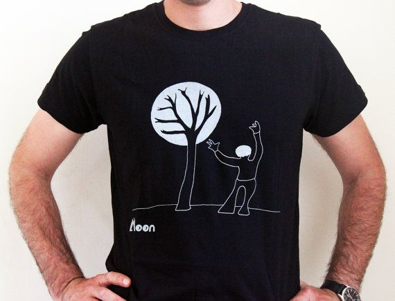 A man with a tree - Men's T-Shirt, white  on black T-shirt - Tee - Shirt  - Humor - witty t shirt- Birthday Gift - hand illustrated
