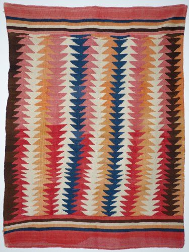 Navajo Transitional Blanket with Natural Indigo, c1880
