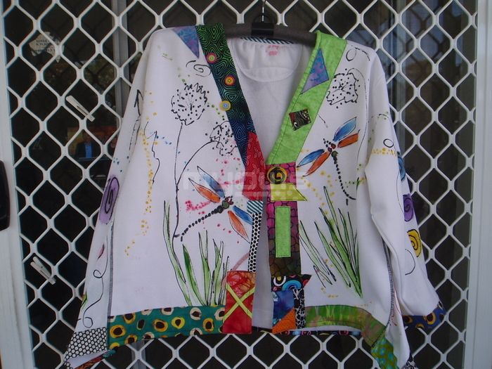 Hand painted upcycled dragonfly jacket with handcrafted buttons