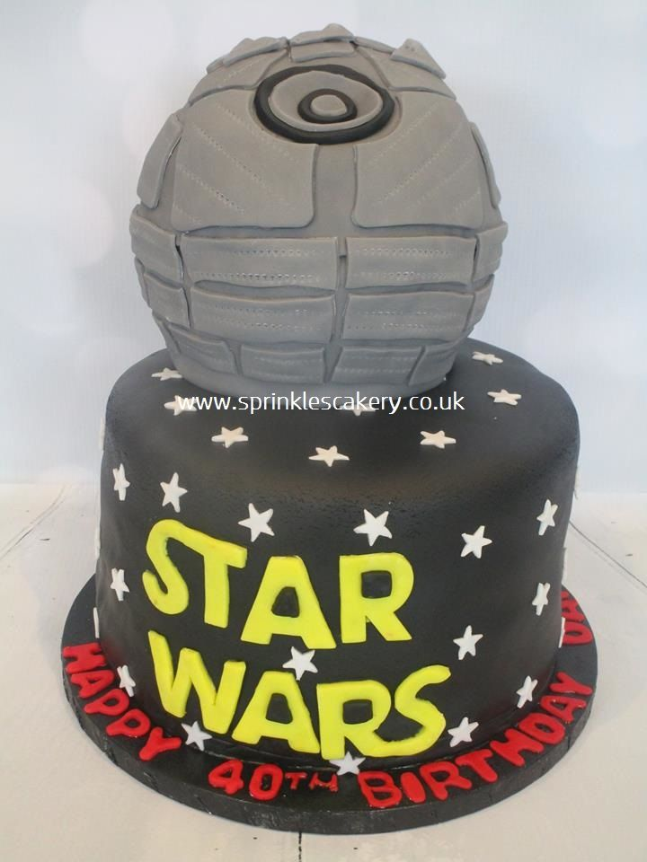 This Star Wars Death Star themed cake was for a suprise 40th birthday party and each tier was a different flavour sponge.