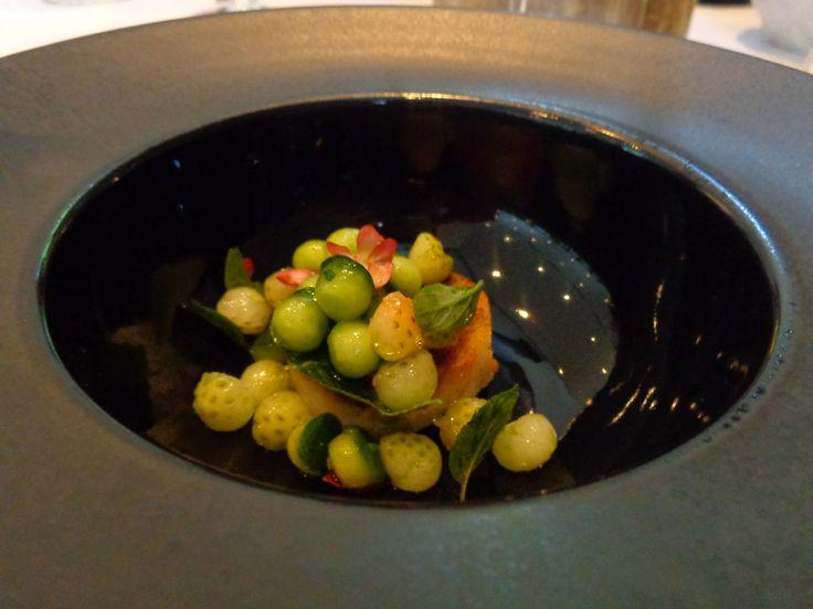 Sterlet. Mint. Green Strawberry. @ Restaurant Atelier Amaro