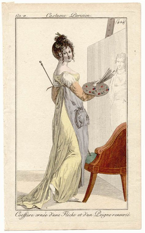 Regency lady in her own art studio Costumes Parisien, an 11