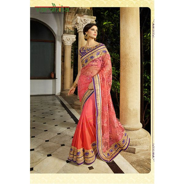 Dusty Pink Color Net N Georgette Fabric Saree Indian Sarees Lace... ($106) ❤ liked on Polyvore featuring tops, grey, women's clothing, netted tops, indian tops, stripe top, embroidered top and gray top