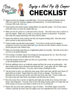 Buying a used pop up camper checklist.  A great checklist to take along when buying a used tent trailer.
