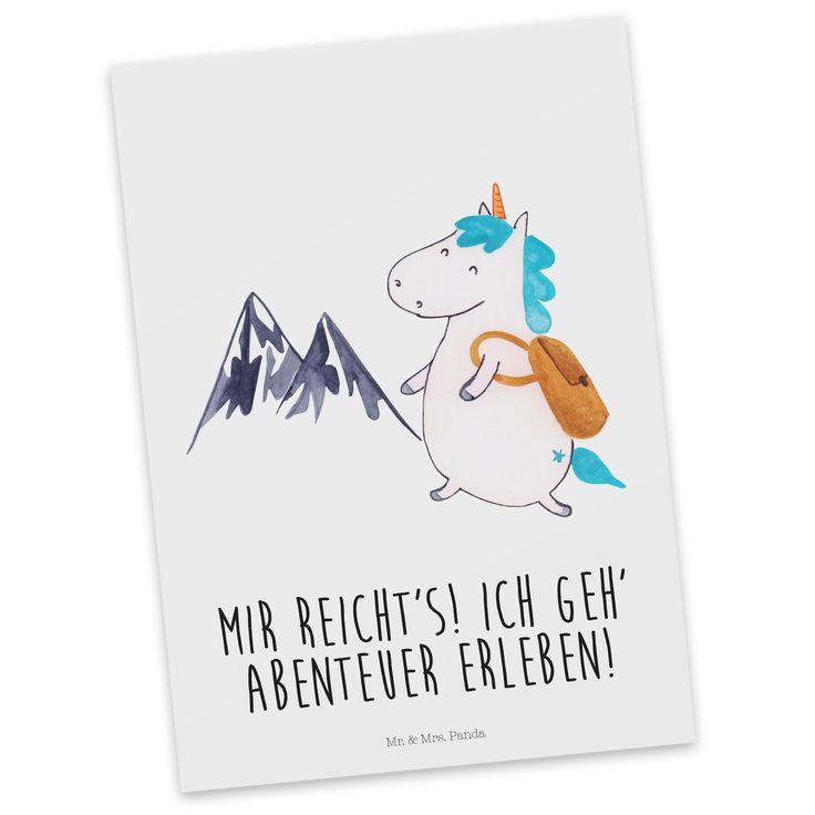 Postkarte Einhorn Bergsteiger aus Karton 300 Gramm  weiß - Das Original von Mr. & Mrs. Panda.  Diese wunderschöne Postkarte aus edlem und hochwertigem 300 Gramm Papier wurde matt glänzend bedruckt und wirkt dadurch sehr edel. Natürlich ist sie auch als Geschenkkarte oder Einladungskarte problemlos zu verwenden. Jede unserer Postkarten wird von uns per hand entworfen, gefertigt, verpackt und verschickt.    Über unser Motiv Einhorn Bergsteiger  Ein Einhorn Edition ist eine ganz besonders…