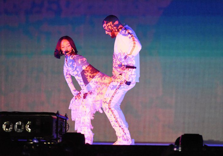 """Pin for Later: Relive the Most Memorable Moments From the Brit Awards Rihanna and Drake Rihanna and Drake turned the temperature up with their performance of """"Work""""."""