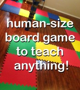 life size board game used to teach and reinforce concepts with kids for math, alphabet, literacy, etc.