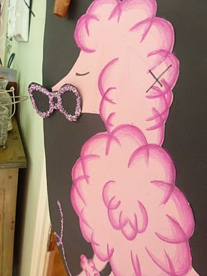 Pin the bow on the poodle - Paris theme little girl party