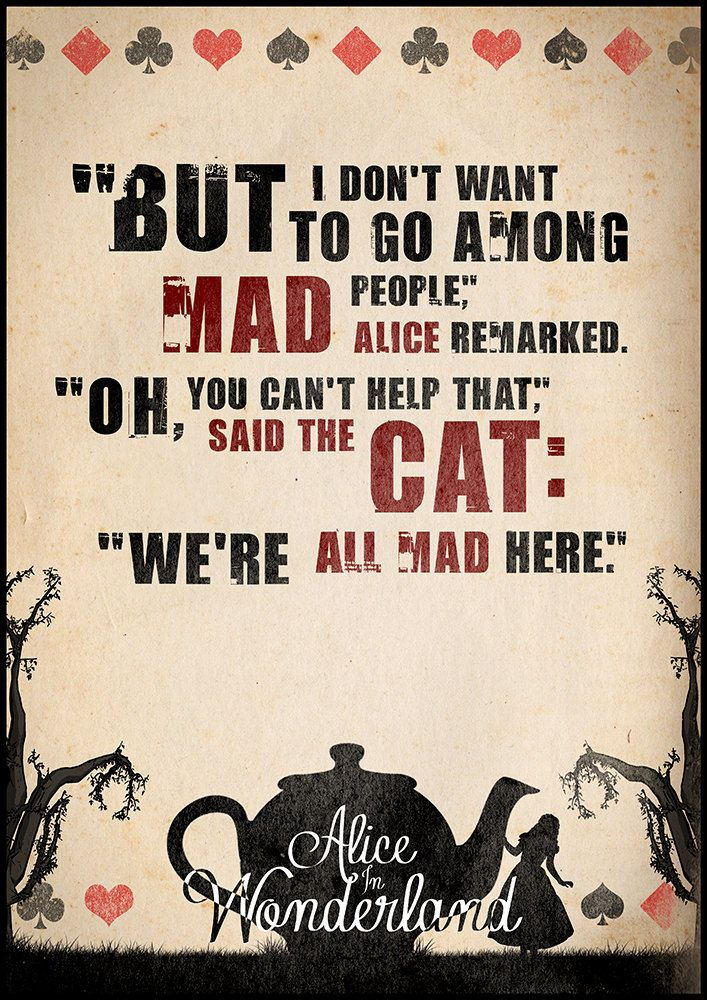 Alice in Wonderland Quote Poster Typographic Print by Redpostbox