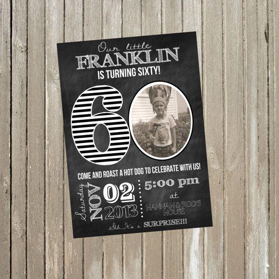 Milestone Birthday Chalkboard Invitation 20th, 30th, 40th, 50th, 60th, 70th, 80th, 90th 5x7 - Print Your Own