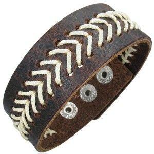Leather Wristband Bracelet For Men 25mm Stitch Detail Men's Jewellery #mensfashion #mensjewellery