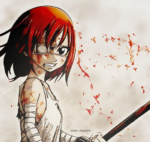 Erza Scarlet is a pillar of strength, and I will always, always respect her character. Not just because she's a kick-ass chick, but because despite her past and the fact that she feels safer 'hiding behind her armour', she keeps pushing forward, no matter who she's facing and how hard it is, so that she can protect her friends. She's a little girl that was scarred badly but picked herself up and fought on bravely.