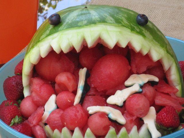 Cute shark carved watermelon #shark #watermelon #party