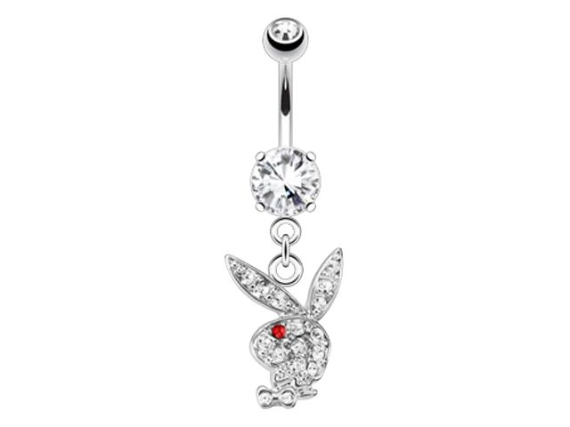 Surgical Steel & Rhodium Plated White & Red Crystal Dangling Playboy Bunny Banana 1.6 X10 X5/8