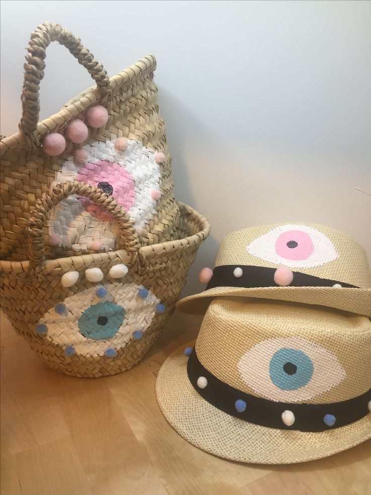 evileye handpainted baby hats and straw baskets by cottonprince.gr