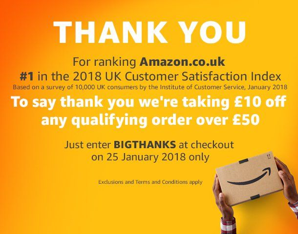 Spread the love TODAY ONLY! To say Thank You for voting them no. 1 in the 2018 UK Customer Satisfaction Index, Amazon are giving customers…  #affiliate #amazon #todayonly #discount #thankyou