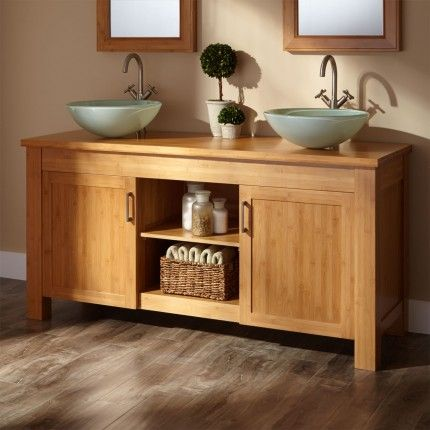 60 Jindra Bamboo Double Vessel Sink Vanity With Bamboo Top For The Home Pinterest Vessel