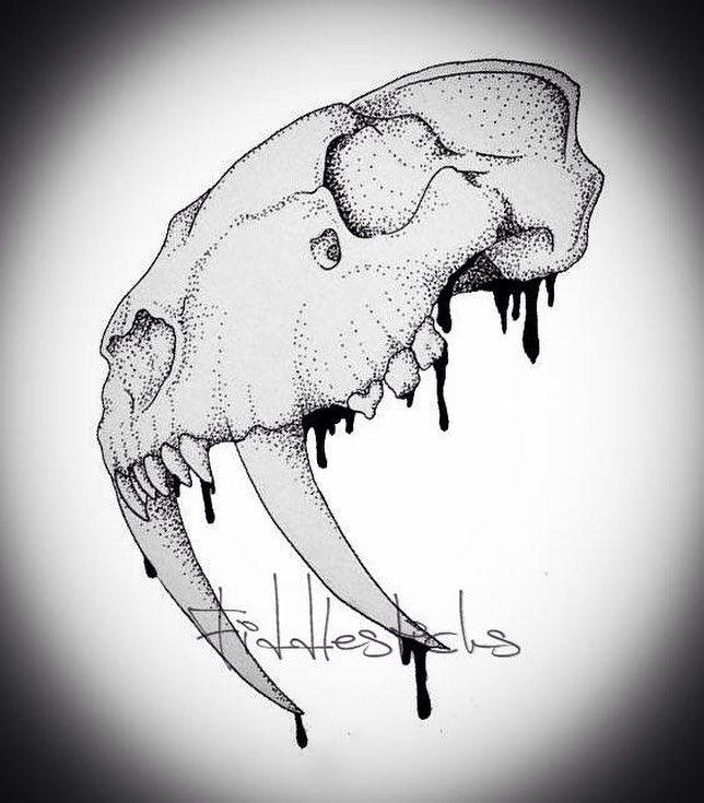 Sabertooth Skull #tattoo #design #cat #sabertooth #teeth #fierce #wild #extinct #dino #dinosaur #berlin #tattooart #art #dotwork #blackwork #germany #stilett #potsdam #animal #nature #ancient #history #sharp #fitness #burger #lowcarb by jfiddlesticks