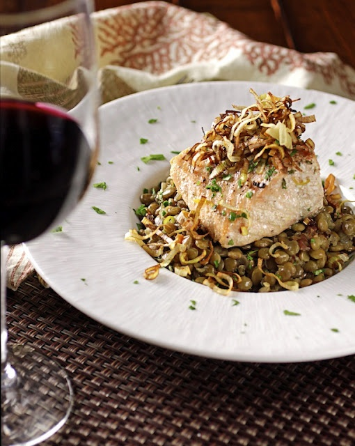 Olive Oil-Poached Salmon with Lentils, Bacon and Crispy Fried Leeks