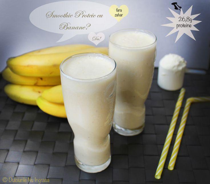 Smoothie Proteic cu Banane fara zahar si grasimi adaugate. Pur si simplu #preabun!