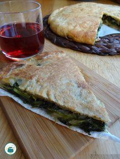 Focaccia integrale ripiena di scarola e olive / a basso indice glicemico