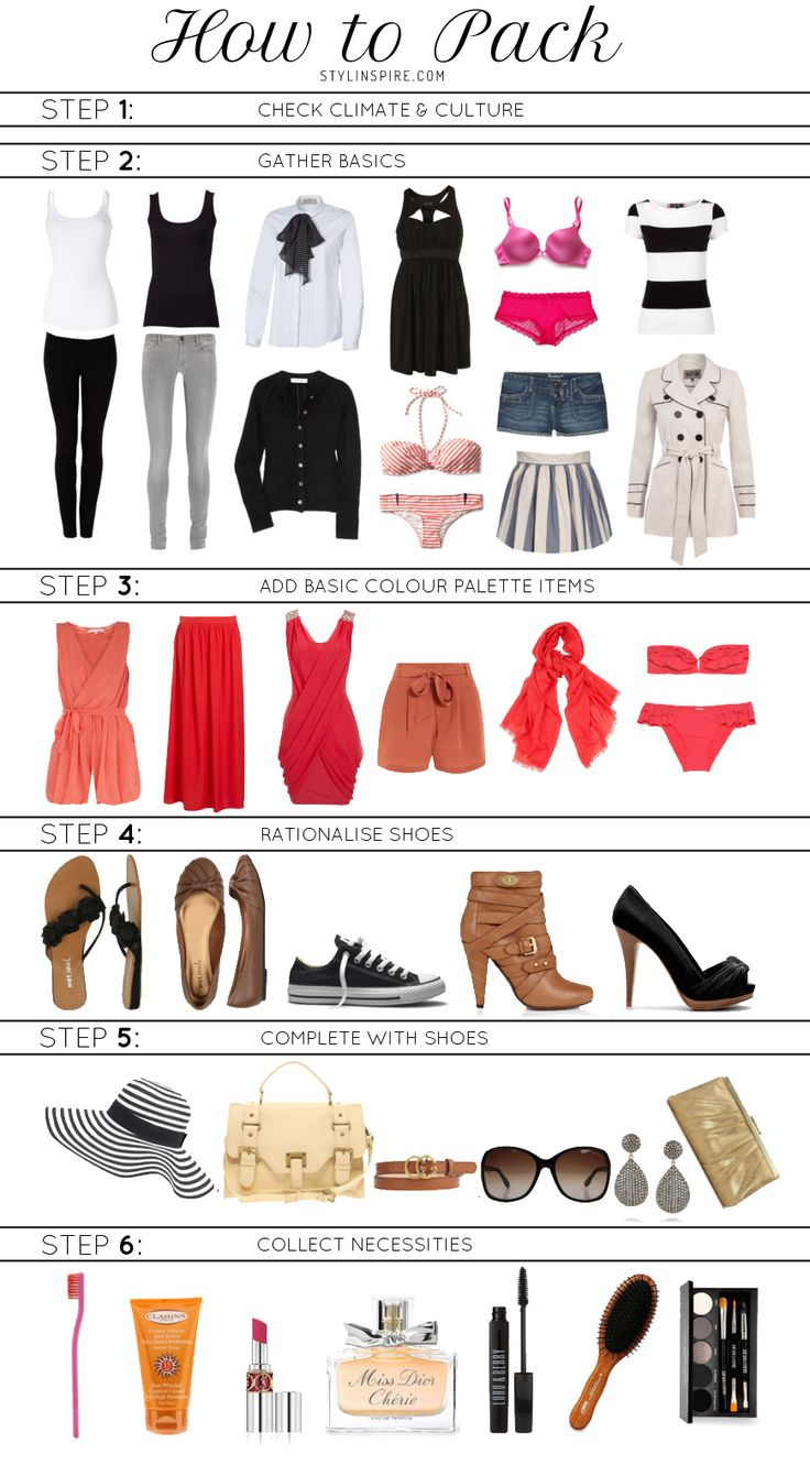there are some ideas for fashionistas on how to pack. I especially like the tip about establishing a color palette - this way you can mix and match, and take less with you.