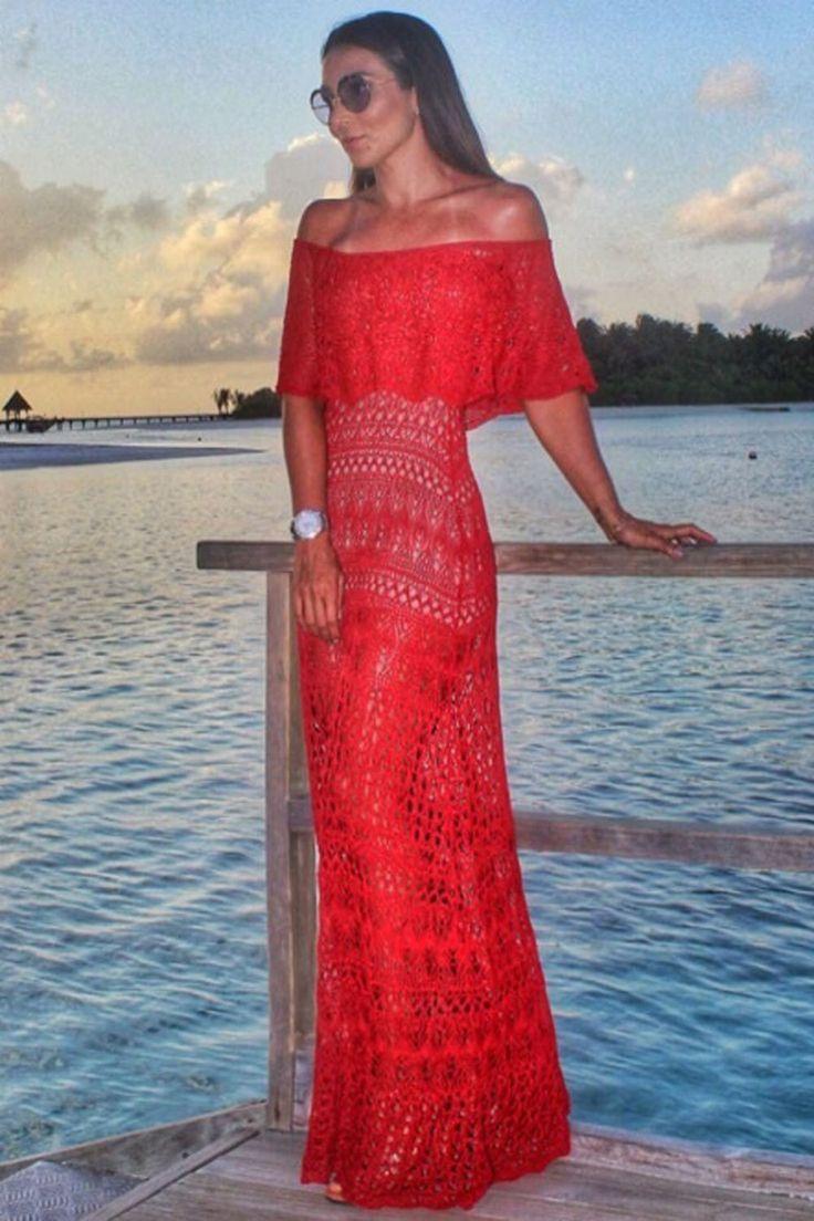 Vestido-Trico-Longo-Ombro-a-Ombro-Vermelho | Galeria Tricot - Galeria Tricot