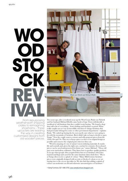 Visi magazine article about my South African stockist, Vamp Furniture. Retro Roosters print in background.