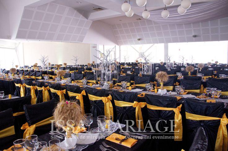 Decoratiuni sala nunta Pitesti si buchete spice grau si floarea soarelui