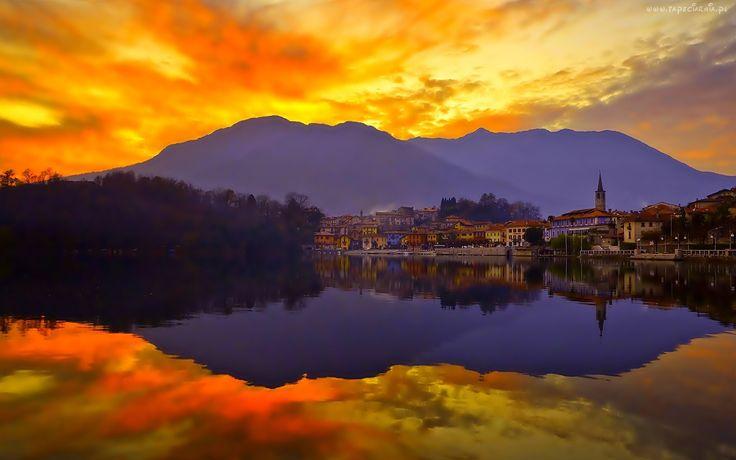 Jezioro, Miasto, Góry, Piękny, Zachód, Słońca, Odbicie, W, Wodzie