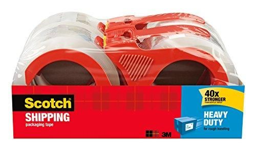 Scotch Heavy Duty Shipping Packaging Tape with Refillable Dispensers, 1.88 in x 54.6 yd, 4 Pack (3850-4RD) Brand: ScotchColor: ClearFeatures:  40X stronger than acrylic tapes (in shear adhesion holding power, compared to acrylic tapes based on ASTMB) Provides excellent holding power for heavy-duty packaging and shipping Strong seal on all box types, including hard-to-stick-to 100% recycled boxes Strong, durable solvent-free hot melt adhesive seals and protects 3.1 mil thick Platform…