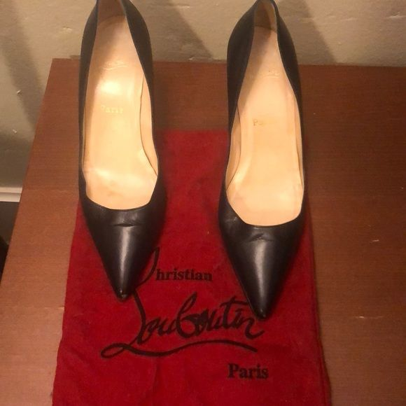 Louboutin Navy Leather Heels Navy Leather Heels Leather Heels