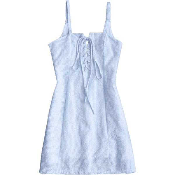 Striped Lace Up Mini Cami Dress ($30) ❤ liked on Polyvore featuring dresses, lace up mini dress, blue camisole, light blue cami, stripe dress and light blue camisole