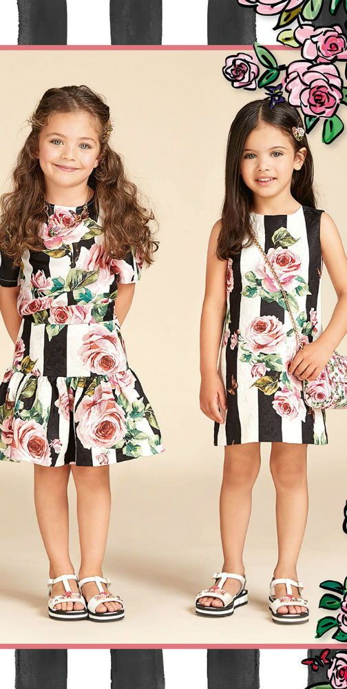 b4a5684c8d2b Love this DOLCE & GABBANA Girls Designer Mini Me Ivory & Black Rose Party  Dress from the Spring Summer 2018 Collection. Delightfully pretty dress  from Dolce ...