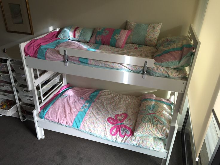 I wanted to make a double bunk bed out of 2 of the Ikea KRITTER beds. I needed…