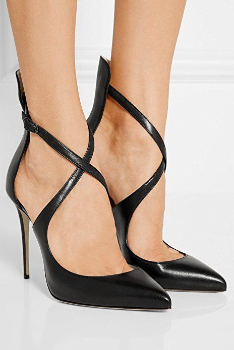 4b77fcc31f Sammitop Women's Pointed Toe Stiletto High Heels Crisscross Strappy Pumps  Ladies Ankle Buckle Strap Shoes   Pumps