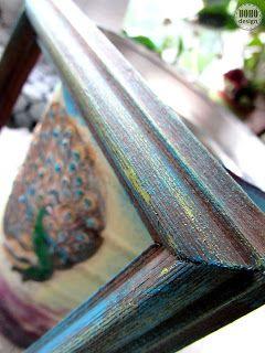 BOHÉM otthon -festett képkeret, dobozok #paintedframes #peacock #distressed #blue #turqoise #gold #furniturepainting