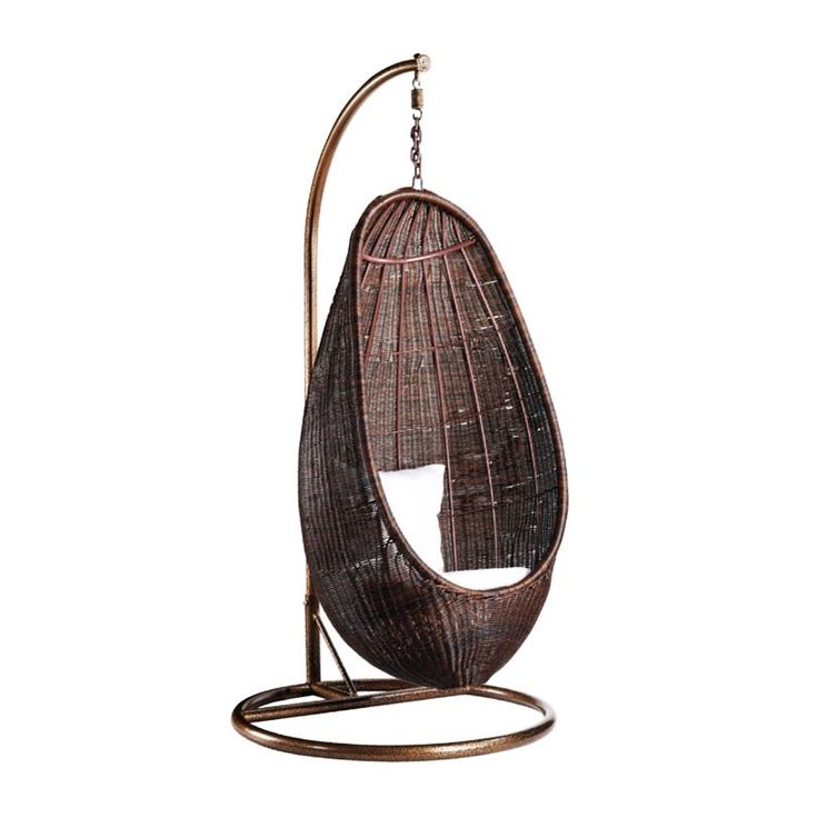 fine mod imports rattan hanging chair with stand chocolate rattan