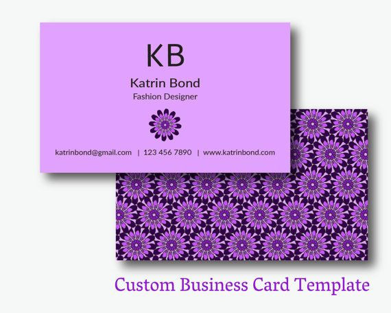 Business Card Template, Calling Cards, Custom Business Cards, Unique Business Card Template, Business Card Design, Purple Business Card  #teampinterest